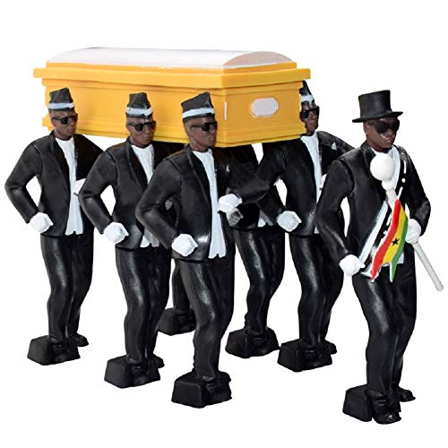 Ghana Pallbearers Dancing Team, 8-teiliges Set Ghana Dancing Cosplay Toys, afrikanischer schwarzer Mann mit Sarg-Tanz-Actionfiguren, Sarg-Sarg-Spielset