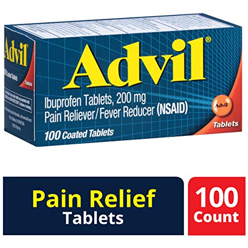 Advil (100 Count) Pain Reliever / Fever Reducer Coated Tablet, 200mg Ibuprofen, Temporary Pain Relief