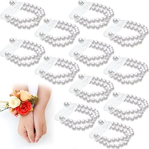 12 Pieces Elastic Pearl Wristband Wristlet Corsage Accessory Stretch Pearl Wedding Wrist DIY Decor Accessory Corsage Pearl Bead Wristband for Wedding Prom Bride Handmade Corsage