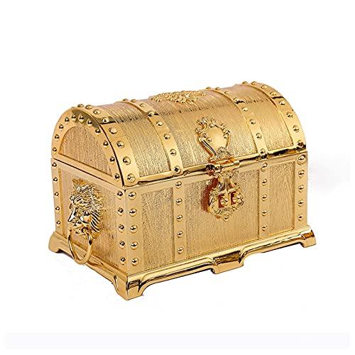 Joyero, Caja De Joyería De Oro del Tesoro De La Vendimia Joyería De La Joyería De La Caja De La Joyería Organizador del Anillo De Recuerdo De La Caja del Anillo De La Caja del Cofre para El Regalo De