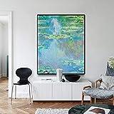 YuanMinglu Seerose durch Maler Leinwand Malerei Ölgemälde Vintage Wandkunst Retro Poster Poster und druckt Wohnzimmer Wandbild rahmenlose Malerei 37.5X45CM