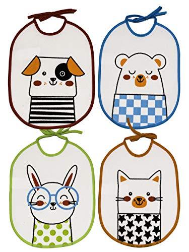 Ti TIN - Pack 4 Baberos Impermeables para Bebé 73% algodón - 27% poliéster | Lote de 4 Baberos para Bebés de 6 a 18 Meses con Cierre con Cintas. Alta calidad y confort.