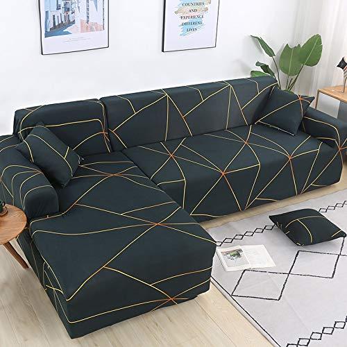 Fundas de sofá elásticas para Sala de Estar Funda de sofá geométrica Funda de sofá para Mascotas Esquina en Forma de L Chaise Longue Funda para sofá A26 2 plazas