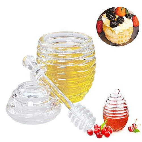 LEAMALLS Pot à Miel Conteneur Distributeur pour jus de Miel Sucre Pots et bocaux Stockage Cuisine - 265ml