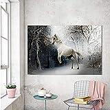 QWESFX Poster e Stampe su Tela Pittura Quadri murali Animali per Soggiorno Cavallo nella Neve...