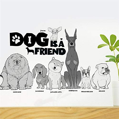 Leuke hond is een vriend muur stickers voor kinderen kamers huisdecoratie huisdier ziekenhuis venster Cartoon dier muur Stickers PVC muurschildering kunst