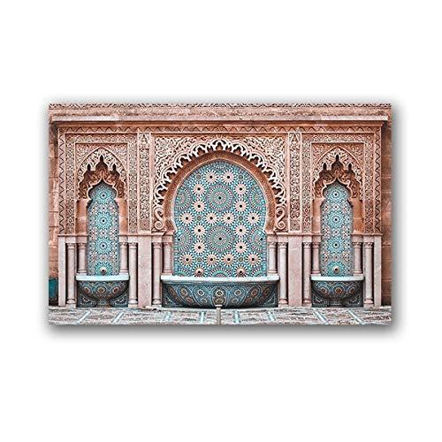 Marokkanischer Bogen Poster Leinwanddruck Moderne orientalische Boho Chic Wandbild Wohnzimmer Dekoration 42x60 cm
