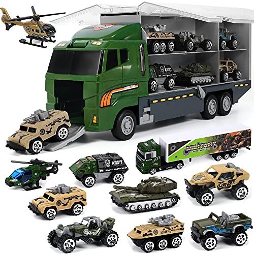 VAMEI Kinder Auto Spielzeug Militärfahrzeuge Metall Spielzeugautos Set Panzer Hubschrauber Gepanzertes Fahrzeug Miniatur Armee Autos Modelle Militär Spielzeug für Kinder ab 3 Jahre