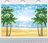 INRUI Telón de fondo de playa tropical con purpurina Bokeh Seaside Island Palm Trees Fotografía Fondo Tropical Hawaiian Island Sea Sky Sunshine Luau Tema Decoraciones