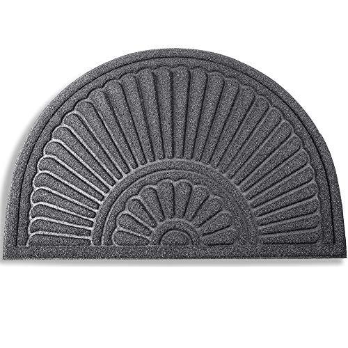 Mibao Half Round Door Mat, Non-Slip Welcome Entrance Way Rug, Durable Low-Profile Easy to Clean Front Outdoor Heavy Duty Doormat, 24' x 36', Grey