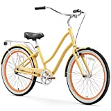 sixthreezero EVRYjourney Women's Single-Speed Hybrid Cruiser Bike, Cream with Black Seat and Grips