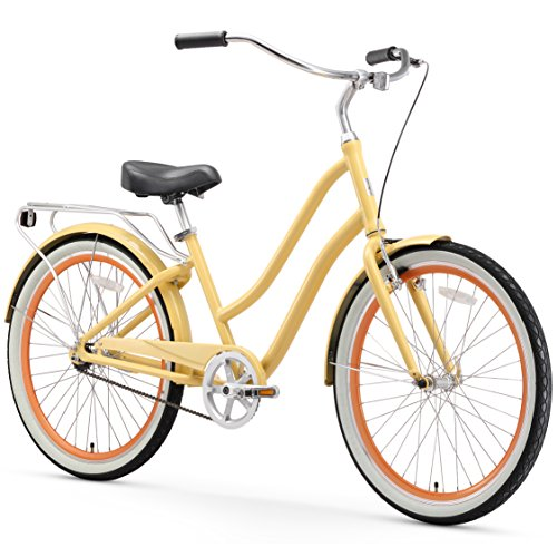 sixthreezero EVRYjourney Women's Single Speed Step-Through Hybrid Cruiser Bicycle, 26' Wheels and 17.5' Frame, Cream with Black Seat and Grips