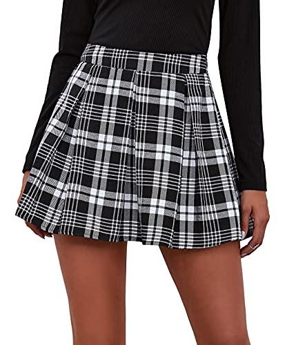 Maeau - Falda Mujer Casual Cuadro Corto Cintura Alta con Pliegue Faldas Mujeres Tables Plisada Uniforme Escolar Suave y Lindo Faldas Escocesa Plisada para Mujer - Negro