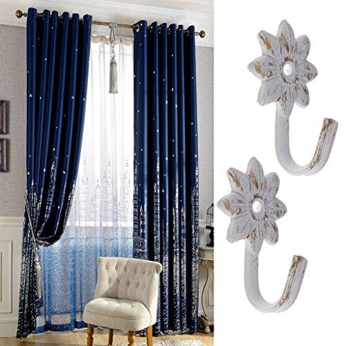 perfk 2pcs Vorhang Raffhalter Raffhaken Wandhaken Gardinenhalter Vorhanghalter (Blume Seeanker Design) - Blume - 004