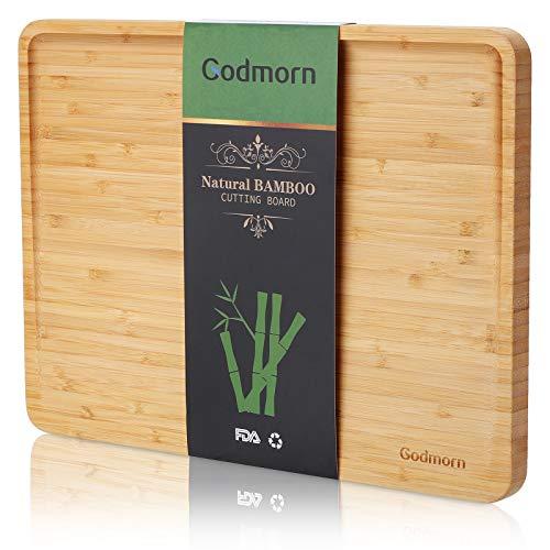 Godmorn Tagliere di bambù, Grande Tagliere da Cucina con scanalatura per Il Succo, 2021 Tagliere di Legno dal Design Inclinato Migliorato, 93% di Superficie Utilizzabile - 38,9x29x2 cm