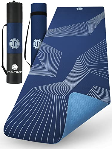 Fas-Train® PREMIUM Yogamatte [183x61x0,6cm] - Rutschfeste und Griffige Workout Matte - inkl. Tragegurt und Tragetasche - Komfortable Fitnessmatte - PVC Frei
