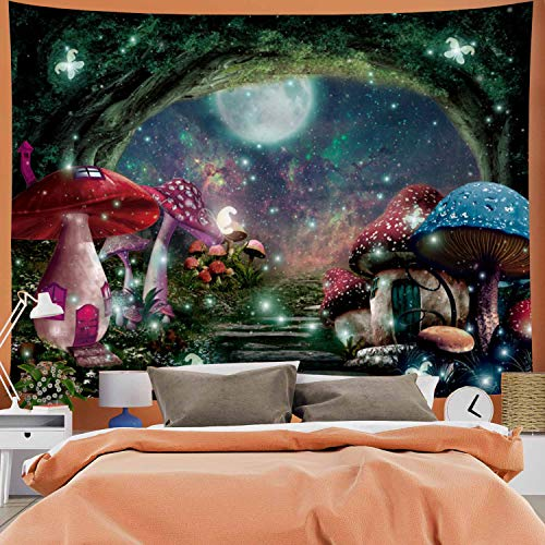 Psychedelic Mushroom Castle Tapestry Galaxy Moon Stars Tapestry Mysterious Forest Tree Tapestry Fantasy Fairy Tale Tapestry Wall Hanging for Bedroom
