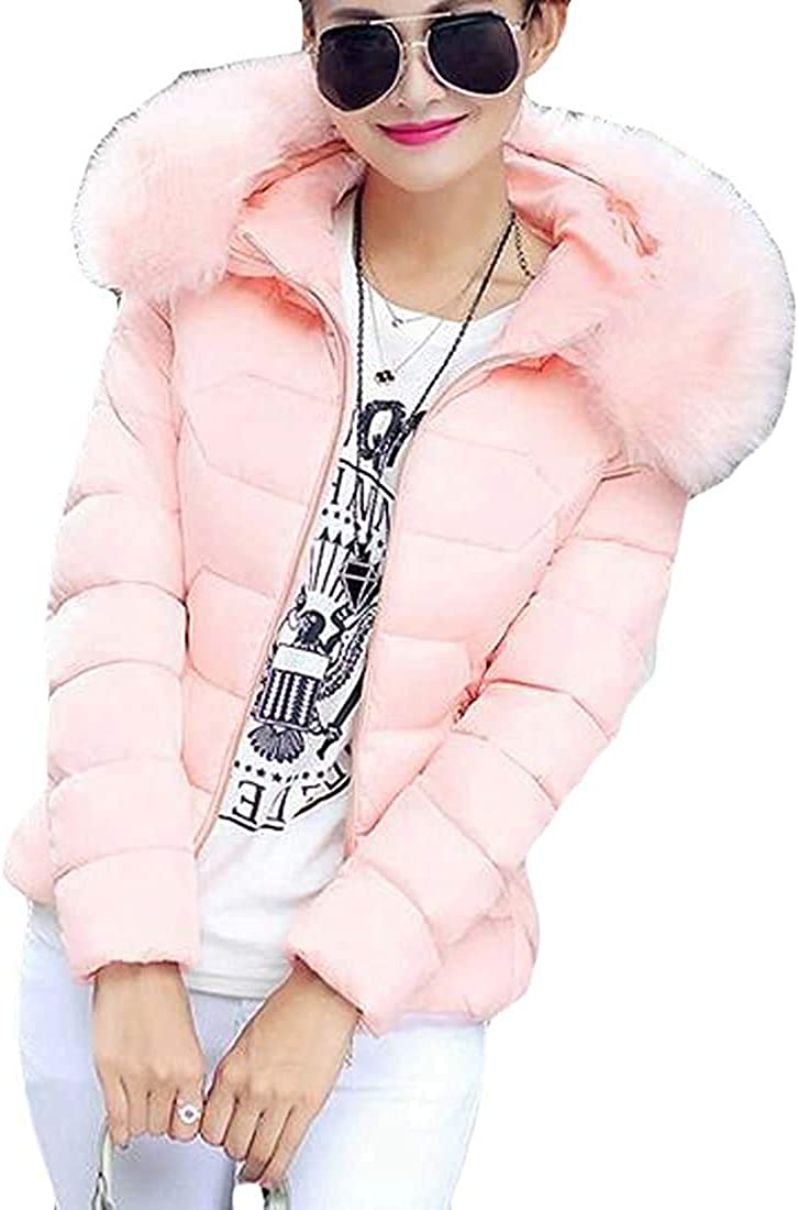 Yhsuk Womens Winter Warm Quilted Jacket Faux Fur Hoodie Down Coat Puffer Jacket Outerwear