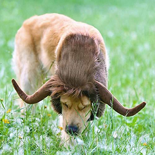 RISF Peluca de cuerno de toro para mascotas, disfraz de cuerno de toro, peluca clida para invierno, accesorio de ropa para fiestas