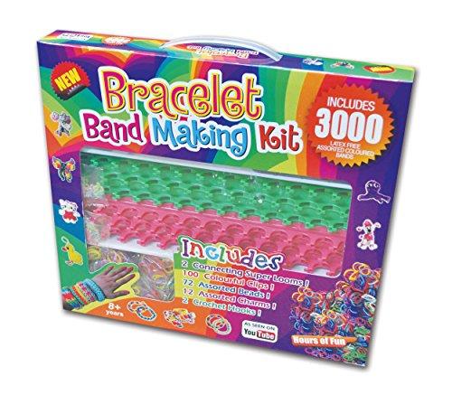 Kit d'art Bracelet avec 3000 Couleur Loom Bandes + 2 Super Looms + Clips (Bracelet Making Kit)