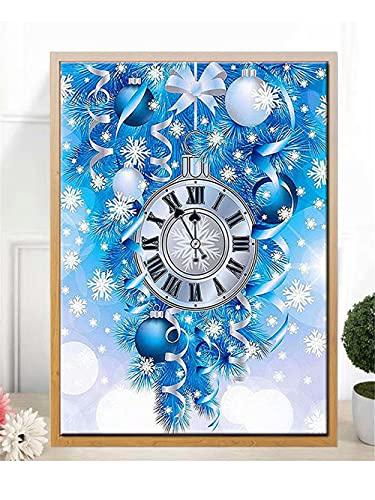 5D DIY Kit de Pintura de Diamante Taladro Completo Adultos/Niños, Reloj de nieve Bordado Diamond Painting punto de cruz Mosaico Lienzo Artística, para decor de la pared del hogar Round drill,60x80cm