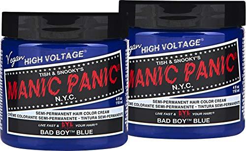 Manic Panic Bad Boy Blue Hair Dye – Classic High Voltage - (2PK) Semi-Permanent Hair Color - Dark Denim Blue with Green & Grey Undertones – Vegan, PPD & Ammonia-Free - For Coloring Hair on Women & Men