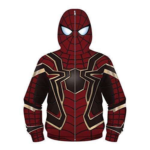 MODRYER Unisex Kids Hoodie Sweatshirt Spiderman Miles Morales Chándal de Morales con Cremallera Abrigo Impreso 3D para el Carnaval de Halloween Regalo de Cumpleaños, Iron Spider-Large(145cm~155cm)