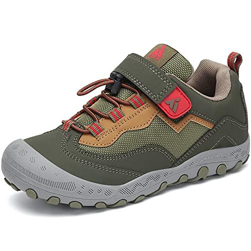 Mishansha Kinderschuhe Trekking Wanderhalbschuhe Jungen Mädchen Outdoor rutschfest Turnschuhe Walking Freizeit Sports Schuhe, Kieferngrün, 24 EU