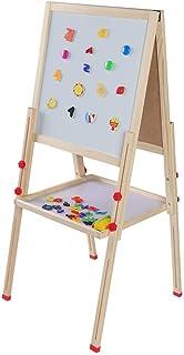 Ejoyous Dubbelsidigt staffli, 3-i-1 träbord barnstaffli, justerbart barnstaffli med kritskydd och 4 akvarellpennor