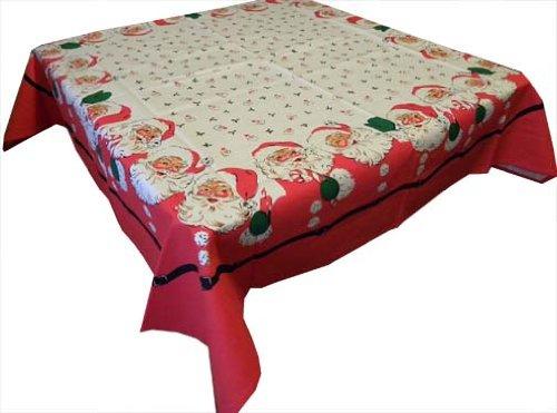 Santa Claus Calls Cotton Christmas Tablecloth, 52 Inch Square