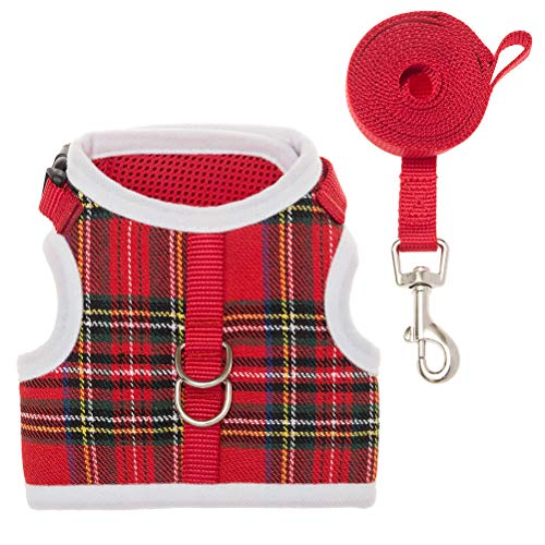 Escape Proof Cat Harness Adjustable Comfortable Mesh Vest with Classic Plaid for Cats, Small