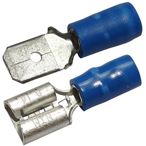 Aerzetix: 20 x Kabelschuhe Kabelschuh ( Klemme ) männlich weiblich flach 6.3mm 0.8mm 2mm2 isoliert Blau C11858C11891