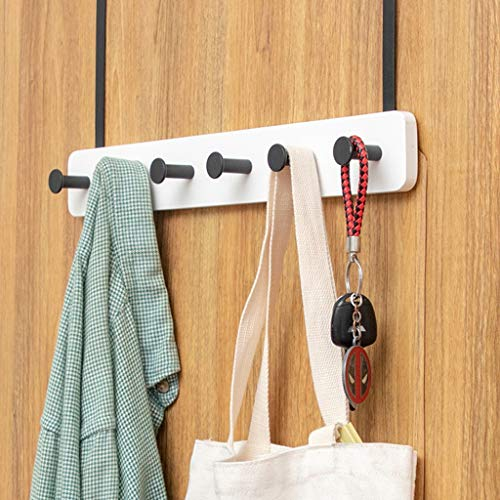 Wandkapstok Hook Met Shelf Handdoekrek Entryway Organizer Wall Mounted Haken, 5 Modern Haken, Bamboo (Color : White)