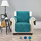 STONECREST Velvet Reversible Quilted Slipcover for Recliner Chair, Waterproof Washable Furniture Protector Cover for Dogs, Kids (Teal Green/Khaki, Chair 24')