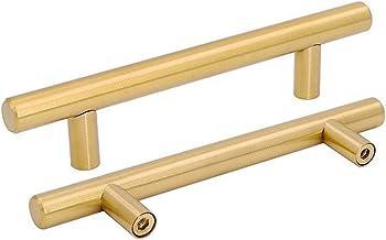 Puxadores de armário de latão escovado 10 peças puxadores de gaveta de ouro – Gold warm LS201GD T Bar quadrado dourado maç...