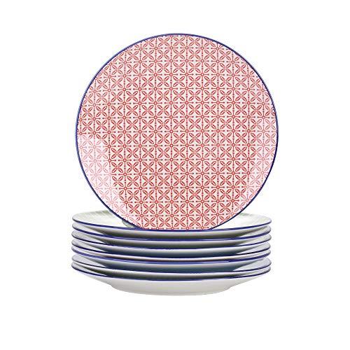 Vancasso Speiseteller Porzellan, Macaron 8 teilig Flachteller bunt, Geschirr Tellerset Ø 27 cm Frühstückteller Essteller