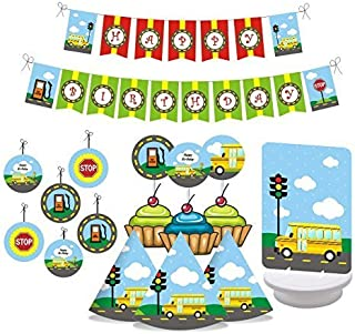 Wheels on the BUS Birthday Party Decorations. Includes Party Hats, Centerpieces, Bunting Banner, Danglers and Cupcake Toppers