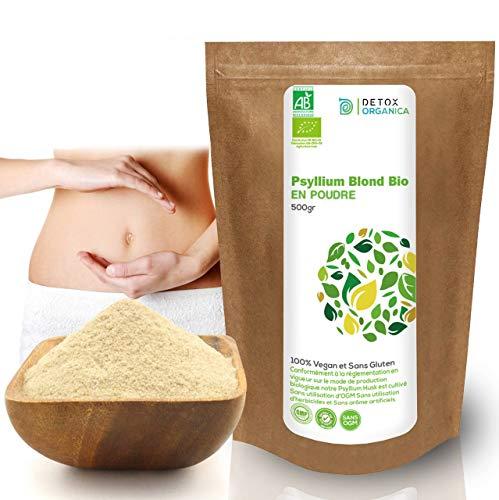 Detox Organica Psyllium Blond Bio Poudre-Tégument de psyllium Organic-500 g - Végétal Riche en Fibres 100% Naturel et Vegan