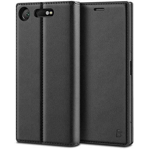 BEZ® Sony XperiaXZ1 Hülle, Handyhülle Kompatibel für Sony XperiaXZ1 Tasche, Flip Case Cover Schutzhüllen aus Klappetui mit Kreditkartenhaltern, Ständer, Magnetverschluss, Schwarz