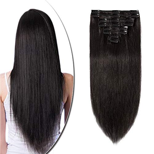 """8""""-24"""" Extension a Clip Cheveux Naturel Rajout Vrai Cheveux Humain Remy - Volume Moyen 8 Pcs (#1B Noir naturel, 50cm-105g)"""
