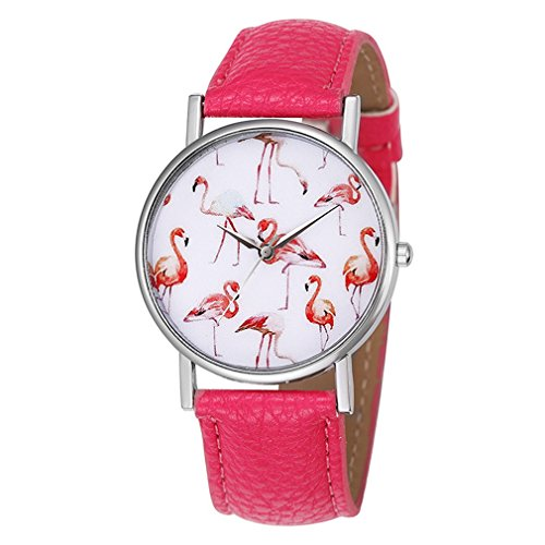 Souarts Damen Armbanduhr Einfach Stil weiß Zifferblatt mit Flamingo Muster Analoge Quarz Uhr Roserot