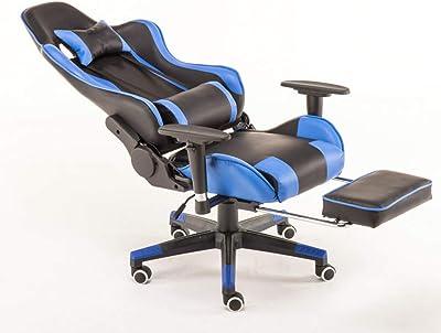 ゲーミング 椅子 人間工学に基づいた スイベル オフィス 椅子 高い バック ヘビー 義務 ホーム オフィス コンピューター 机 椅子 PU レザー リクライニング スポーツ レーシング 椅子,ブルー