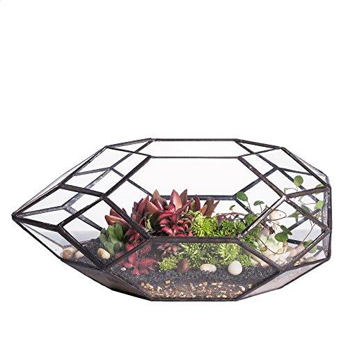 Handgefertigtes, großes, unregelmäßiges, vielflächiges, geometrisches Glas-Terrarium für sukkulente Pflanzen - laternenartiger Blumentopf/Übertopf für Fensterbank, Balkon, Tischplatte - 28 cm (Länge)