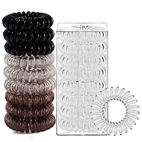 Tacobear 18piezas Gomas de Pelo en Espiral Lazos para Cabello en Espiral Elásticas para el Cabello Accesorios para Cabello para Mujer Niña