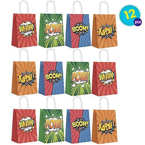 Superhelden Design Bunte Partytüten Seilgriff 120g Bastelpapier - Ideal für Superhelden Themenparties oder andere - Partygeschenke Mitgebseln Pow, Wam, Zap, Boom - Weihnachten & Halloween