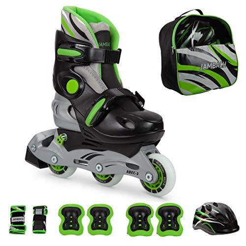 JAMBACH Kinder Inliner Inline Skates für Anfänger verstellbar Set Triskates mit Schutzset Helm Rucksack Rollschuhe Mädchen Jungen (M (34-37), grün)