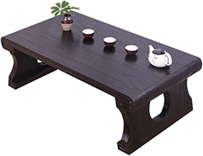 Coffee Tables Zen Tea Table Home Bay Window Table Window Sill Chinese Study Table Study Solid Wood Dwarf Table Japanese Coffee Table (Color : Brown, Size : 60 * 40 * 30cm)