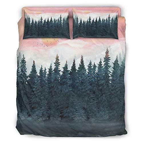 Generic Branded Sunset Forest - Juego de edredón (4 piezas, 175 x 218 cm), color blanco