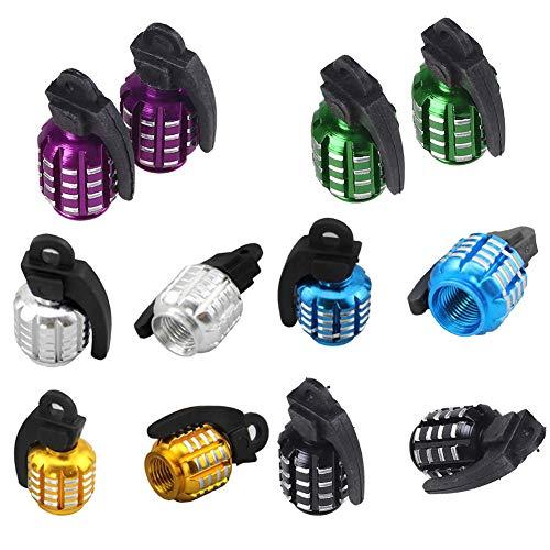 Moligin - 6 pares de tapones de válvula con forma de granada para neumáticos, tapas de válvula para válvula de neumáticos, tapas de válvula para coche, bicicleta, motocicleta, 6 pares