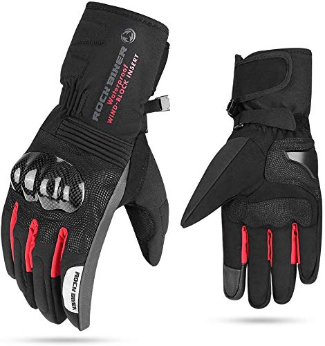 Motorcycle Winter Gloves Touch Screen Gloves Windproof Water Resistant Carbon Fiber Men Women Warm… (Red, XL)